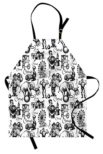 Ambesonne Modern Apron, Circus Words and Themed Continous Pattern with Magician Baloons Phrase Artwork, Unisex Kitchen Bib Apron with Adjustable Neck for Cooking Baking Gardening, Black and White]()