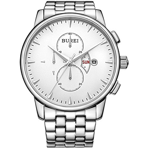 - BUREI Mens Women Chronograph Quartz Watches with Analog Dial Stainless Steel Case Calfskin Leather and Stainless Steel Band