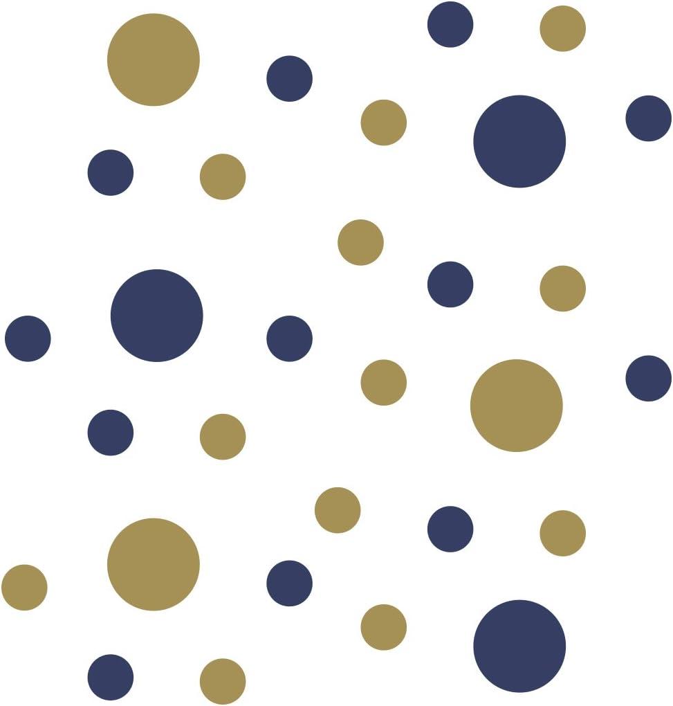 Navy Blue/Metallic Gold Vinyl Wall Stickers - 2 & 4 inch Circles (30 Decals)