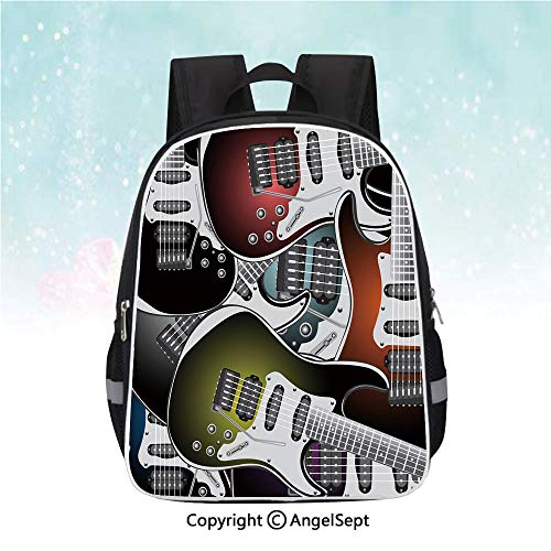 Nylon Fabric Backpack,Pile of Graphic Colorful Electric Guitars Rock Music Stringed Instruments Decorative,13