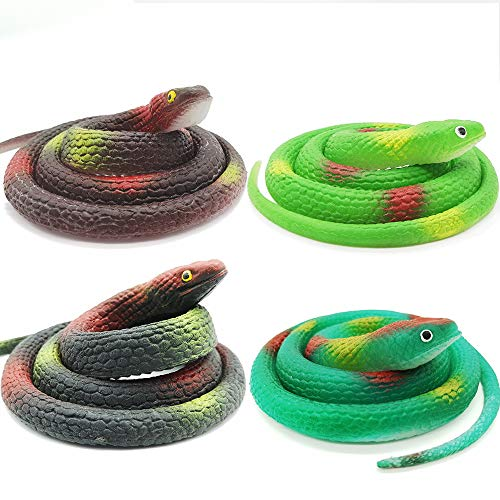 Lechay 4 Pieces 29 Inch Realistic Rubber Snakes, Pranks, Halloween Decoration ,The Funniest Gift for Children -