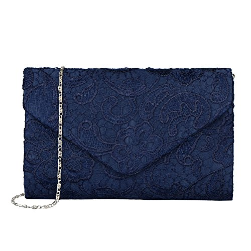 - Baglamor Women's Elegant Floral Lace Envelope Clutch Evening Prom Handbag Purse (Blue)