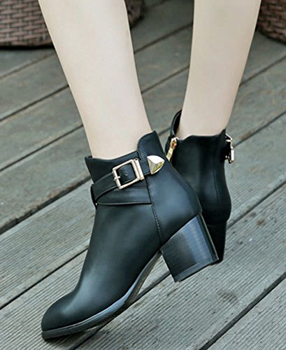 Heels Short Black Buckle Boots Mid Up Zip Pointy Toe Aisun Women's Comfy SwBqOzp48