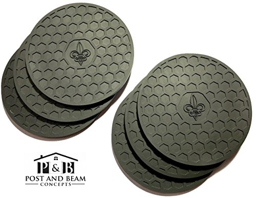 (Post and Beam Drink Coasters Silicone Set of 6 (Black) with Fleur de Lis Design - Strong Grip, Deep Tray, Large 4.3 inch Size)