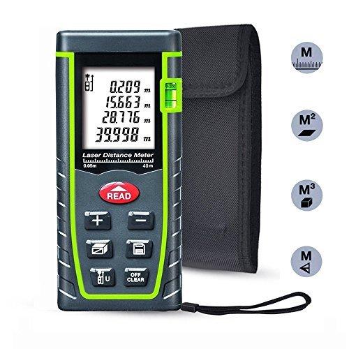 Laser Distance Measure, ieGeek 131ft Handheld M/In/Ft Laser Distance Meter Measuring Device Laser Tape Measure Rangefinder, Pythagorean Mode/Measure Area Volume Capacity/LCD Display/Self-Calibration