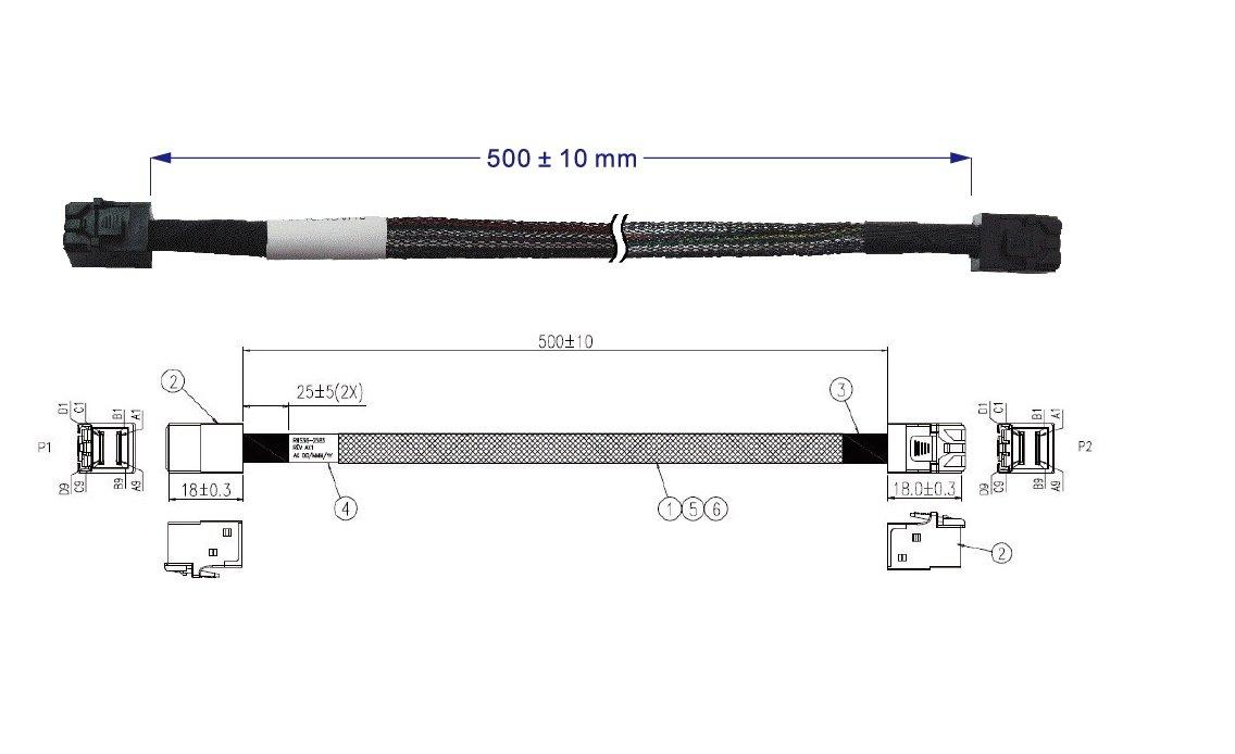 Micro SATA Cables Mini SAS HD SFF-8643 to SFF-8643 Cable 50 cm