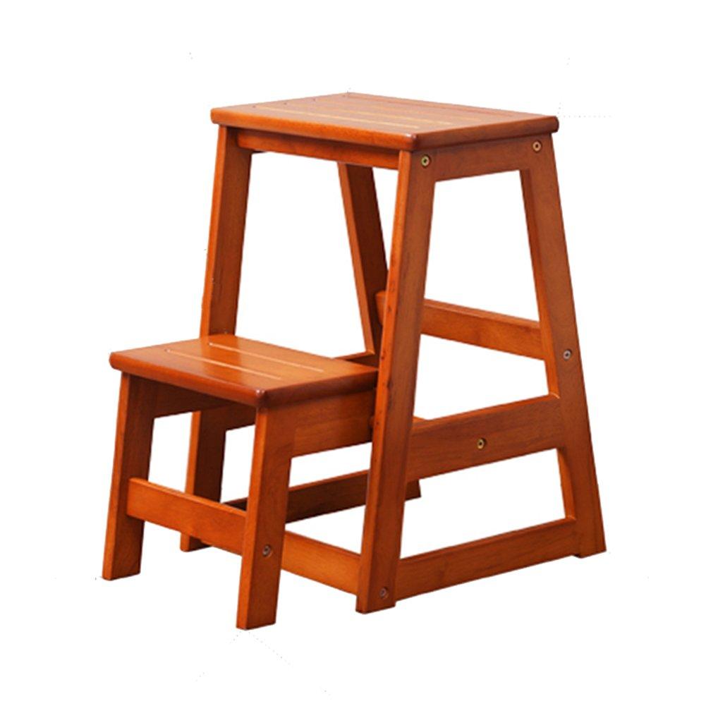 PENGFEI 折りたたみステップ 無垢材 多機能 ポータブル フラワースタンド 靴のベンチ 2ステップ 2色、 高さ553MM 脚立 踏み台ステップ チェア (色 : Honey-colored) B07D7F16M3  Honey-colored