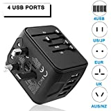 Outlet adapter Universal International adapter, GINDOLY 4USB Ports High Speed Charger AC Wall Outlet Plugs for Thailand power adapter, Italy charger adapter, Europe Asia USA UK AUS and 170 countries
