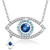 MEGA CREATIVE JEWELRY Blue Evil Eye and Hamsa Hand Pendant Necklace with SWAROVSKI Crystal, Gifts Ideas for Women on Birthday