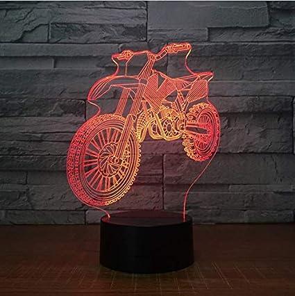 Klsoo Luz de noche Nueva Motocross Forma De Bicicleta Luces Nocturnas Lámpara De Mesa 3D Led Usb 7 Colores Cambio De ...