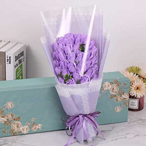 FHOOMYバースデープレゼント実用的なバースデーギフトシミュレーションフラワーソープフラワー33ソープフラワーローズギフトボックスバースデーギフト用特別な日のギフト(色:紫)