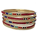 Red 9 Stacking Multi Color Seed Bead Gold Tone Bangle Bracelet Set