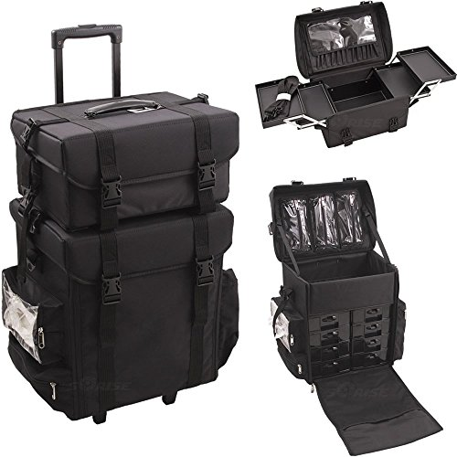 2-in-1 All Black Nylon Soft_Sided Professional Rolling Makeup Case with Drawers and Side Pockets- I3264 by SunRise