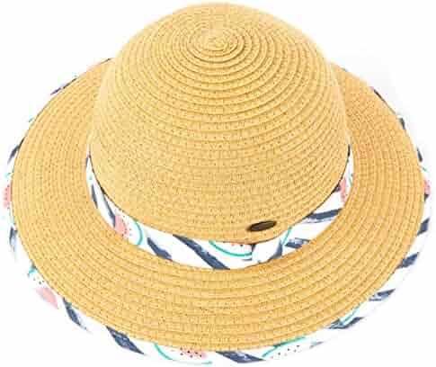 2c71280c C.C Hatsandscarf Kids Floppy Straw Brim Summer Beach Sun Hat (KIDS-2001)