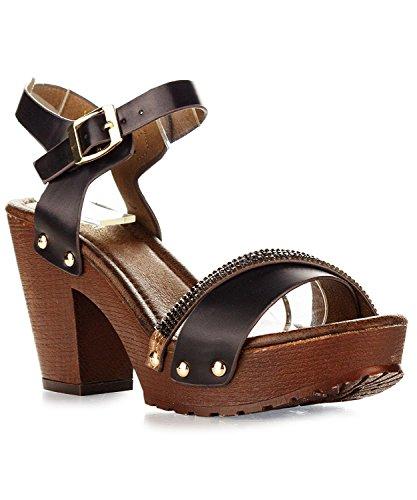ShoBeautiful Women's Chunky Platform Clog Heeled Sandal Two Tone Rhinestone Sling Back Stud Decor Open Toe Summer Shoes VT02 Black (Womens Clogs Sandals)