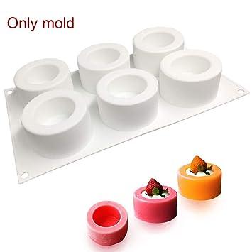 SADA72 Molde de Silicona para Cupcakes, 6 Agujeros, 3D, Molde de Silicona para