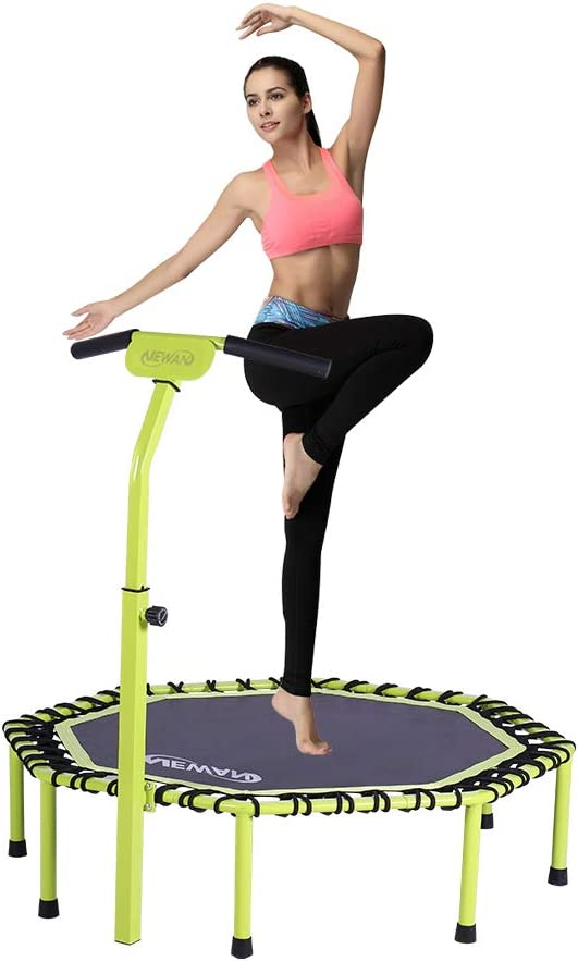 """Newan 48"""" Silent Trampoline with Adjustable Handle Bar, Fitness Trampoline Bungee Rebounder Jumping Cardio Trainer Workout for Adults - Max Limit 330 lbs"""