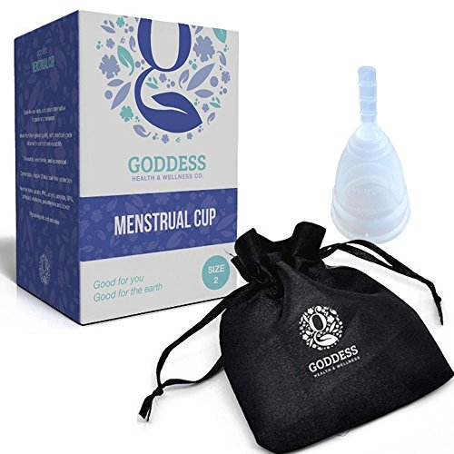 Diva Cup Menstrual (The Goddess Menstrual Cup - No Leaks, Less Cramps, More Comfort - A Reusable Safer Alternative to Tampons and Sanitary Napkins during your period [Size 2 - Large])