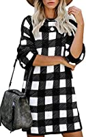 Women's Plaid Knitted Pullover Sweater Round Neck Long Sleeve Tunic Mini Dress