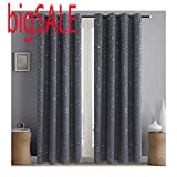 Alice Brown Romantic Starry Sky Creative Blackout Window Curtains for Kids Room/Girls Room/Boys Room Space Inspired Night Sky Twinkle Star Kid's Room Draperies W52 x L84-Inch 2 Panels Grey