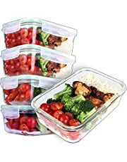 [5-Pack] Glass Meal Prep Containers - Food Prep Containers with snap locking Lids - Food Storage Containers Airtight - Lunch Containers Portion Control Containers - dishwasher, microwave, oven and freezer safe - BPA Free Container [28 ounce]