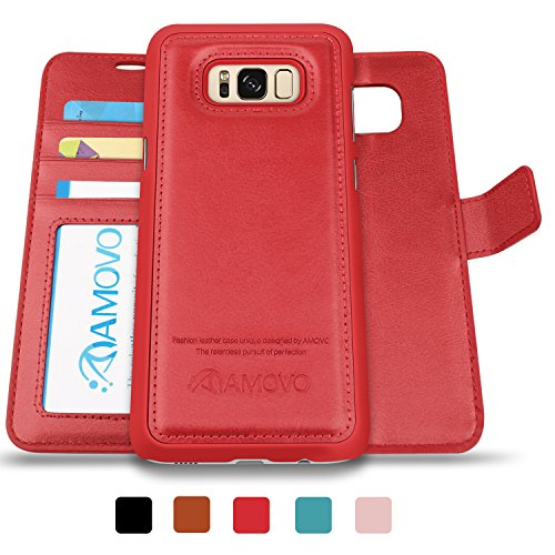 AMOVO Case for Galaxy S8 Plus [2 in 1], Galaxy S8 Plus Wallet Case [Detachable Wallet Folio] [2 in 1] [Premium Vegan Leather] Samsung Galaxy S8 Plus Flip Cover with Gift Box Package (S8Plus, Red)