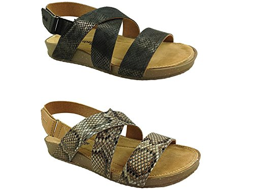 Ladies Shauna Natrelle Snake Skin Effect Synthetic Strappy Peep Toe Sling Back Low Wedge Flat Sandal Shoe Size 3-8 Brown DkZHkDlk