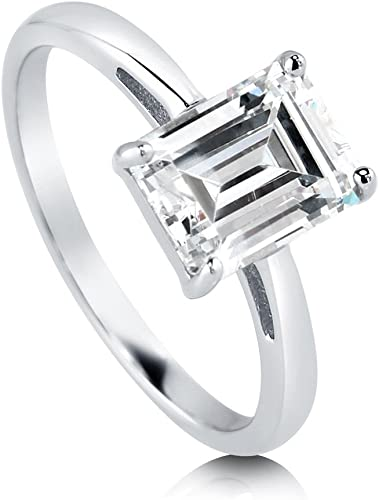 Buy For Less Clear Cubic Zirconia Thin Ring Rhodium Plated Sterling Silver