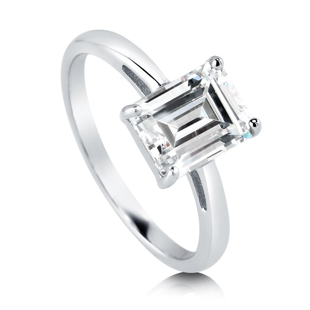 6868facd16 BERRICLE Rhodium Plated Sterling Silver Emerald Cut Cubic Zirconia CZ  Solitaire Engagement Ring 2.17 CTW | Amazon.com