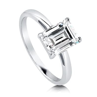 0980dc8c8 BERRICLE Rhodium Plated Sterling Silver Emerald Cut Cubic Zirconia CZ  Solitaire Engagement Ring 2.17 CTW Size