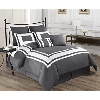 Cozy Beddings Lux Decor Collection 8-Piece Comforter Set with White Stripes, Queen, Grey