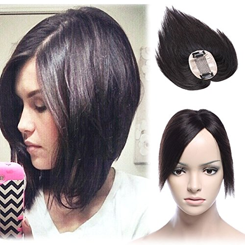 "Middle Part Human Hair Crown Topper Clip Toupee Wiglet Hairpieces for Women with Thinning Hair Hand-made Silk Base at Middle&PU Round Clips in Top Cover (6"", Off Black #1B)"