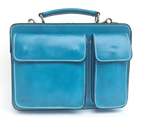 Superflybags Borsa Uomo Piccola Porta Tablet Vera Pelle Made in Italy modello Classic M 28x20x9 azzurro