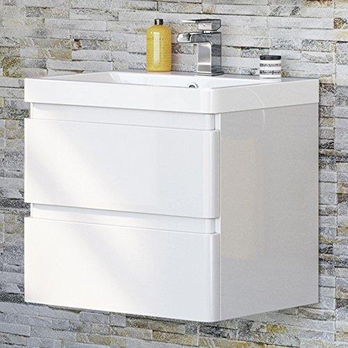 600 mm White Vanity Sink Unit Ceramic Basin Wall Hung Bathroom Storage Furniture by iBathUK (600 Vanity Mm)