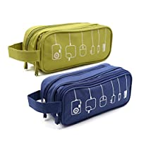 HONSKY 2 Set Medium Water Repellent Travel Electronics Accessories Gadget Cable Cord Organizer, Hanging Cosmetic Makeup Toiletry Space Storage Bags Cases Pouch for Kids Women Men, Green & Dark Blue