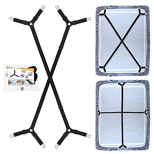 QoeCycth Bed Sheet Holder Straps, 2Pcs Adjustable Crisscross Fitted Sheet Band Straps Grippers Suspenders, Triangle Elastic Mattress Cover Holder Fasteners for All Bed Sheets, Mattress Covers