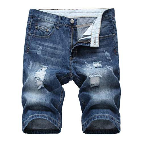 Pantaloncini Di Jeans Estivi Da Uomo Pantaloni Effetto Skinny Invecchiato Distressed Denim Casual Slim Fit Blu Chiaro Blau