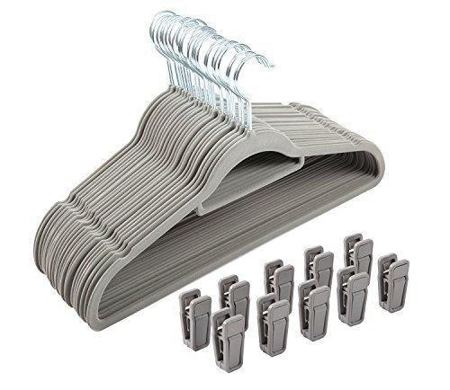 Finnhomy Heavy Duty 50 Pack Clothes Hangers with 10 Multiple Use Finger Clips, Durable Slim-Line Velvet Hangers Non-slip Sturdy Clothing Hangers, Gray by Finnhomy