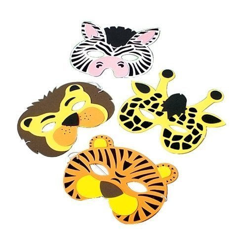 Wild Animal Foam Masks, Assorted masks (4-Pack of 12)