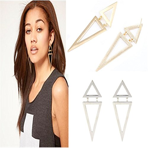 Hemlock Women Lady Triangle Ear Stud Big Geometric Earrings (Silver) - Faux Pearl Illusion Necklace Earrings