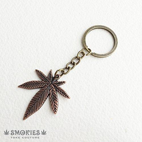 Marijuana Keychain, Key Chain, Stoner Gift, Key Holder, Key Ring, Weed Leaf Cannabis LARGE Marijuana Copper