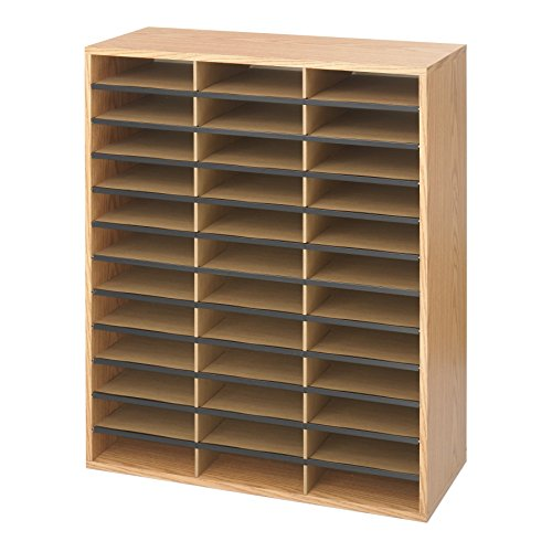 Safco Products Wood/Corrugated Literature Organizer, 36 Compartment 9403, Economical Organization, Letter-Size Compartments