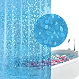 Clear Shower Curtain with Fish Design EVA Shower Curtain, Mold&Mildew Resistant Waterproof Anti-bacterial 72x72-Inch-PVC Free, Non Toxic, Eco-Friendly, Odorless 3D PebbleBathroom Curtains (Blue)