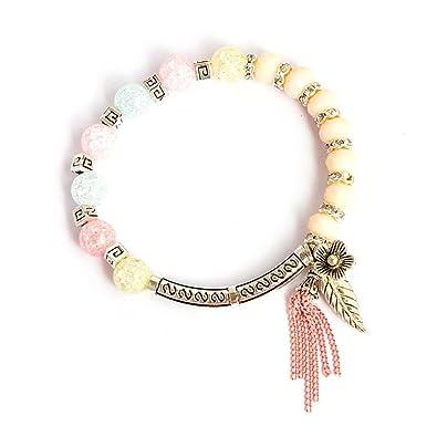 be4e0c1aebe7 uokoki mujeres niñas colgante hoja perlas pulsera Bangles aleación ...
