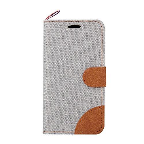 Funda Samsung Galaxy J1 Billetera Carcasa, Forhouse Patrón de Mezclilla Ligero Flip Prima PU Cuero Wallet Caso con [Kickstand][Ranuras para Tarjetas y Caja][Cierre Magnético] Delgado Fit Anti-Arañazos Beige