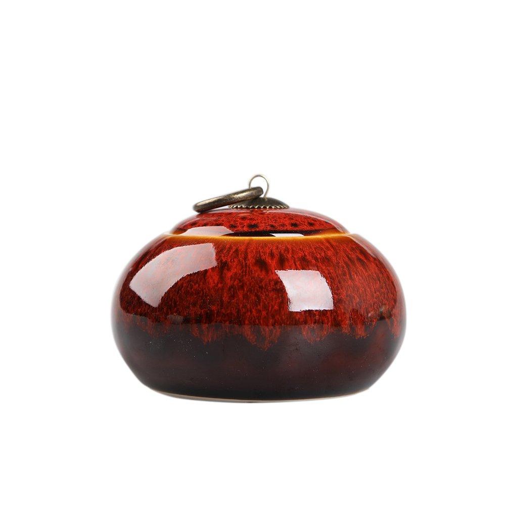 Lanburch Chinese/Japanese Style Glazed Ceramic Tea Storage Tins for Loose Tea Porcelain Tea Storage Chests Spice Jar Cinnabar Red