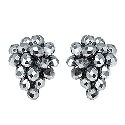 Nice Twilight Forest Silver-Tone Fashion Crystal Grape Base Metal Clip On Earrings supplier