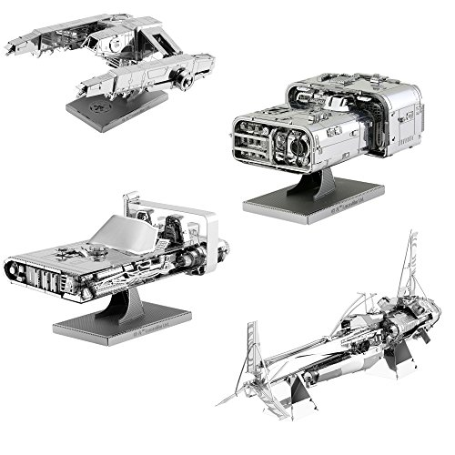 (Fascinations Metal Earth 3D Metal Model Kits Star Wars Solo Set of 4 - Enfys Nest's Swoop Bike - Han's Speeder - Imperial AT-Hauler - Moloch's Landspeeder )