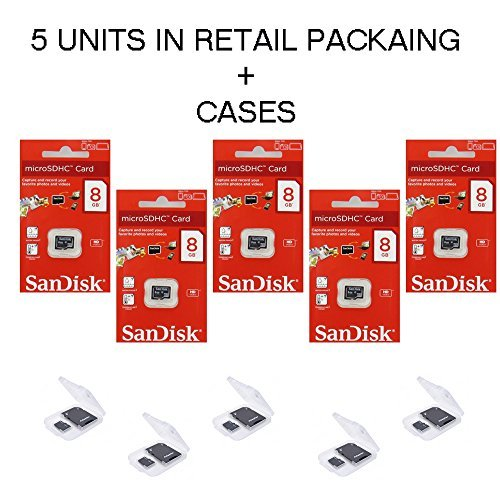 5-PACK-SanDisk-8GB-MicroSDHC-Memory-Flash-Card-Class-4-Micro-SD-SDHC-SDSDQM-008G-B35A-Wholesale-Lot-5-Cases