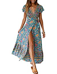Women's Bohemian Floral Printed Wrap V Neck Short Sleeve Split Beach Party Maxi Dress